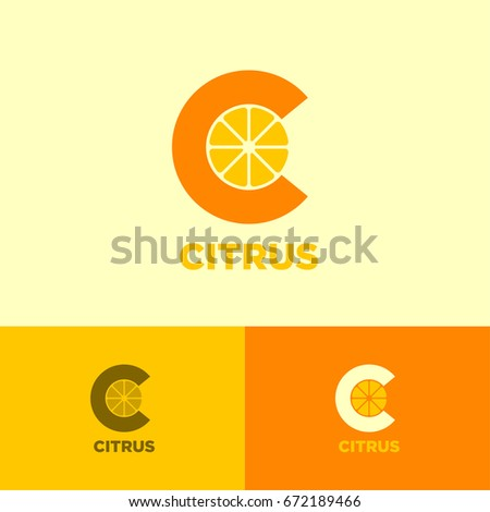 Citrus Logo. Vitamin C icon. From monogram. Letter C with slices of citrus on a light background. Identity. Logo in different colors.