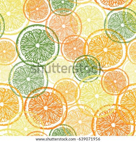 citrus seamless pattern hand