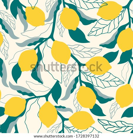 Citrus seamless pattern with colorful lemons and leafs.Summer vector background with fruits.Graphic textile texture.Tropical citrus fabric