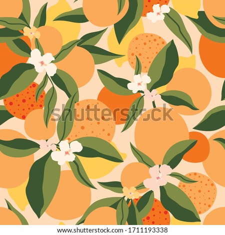 Citrus seamless pattern with colorful oranges and flowers.Vector summer tropical background.Textile texture with fruits.Floral seamless pattern with citrus fruits