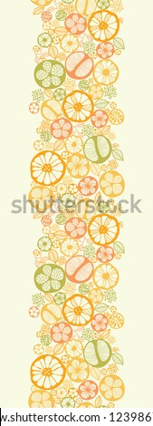 Citrus slices vertical seamless pattern background border