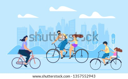 City Active Lifestyle is Promoted. People Ride Bicycles Big City. Girl Goes Work on Bike Brother Drives Sister on Small Bicycle for Walk Husband Bike Tandem go in Park Rest. Fresh Cures Lungs.