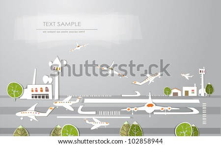 "City airport background ""White city"" collection"