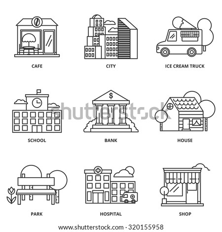 City and buildings vector icons set modern line style