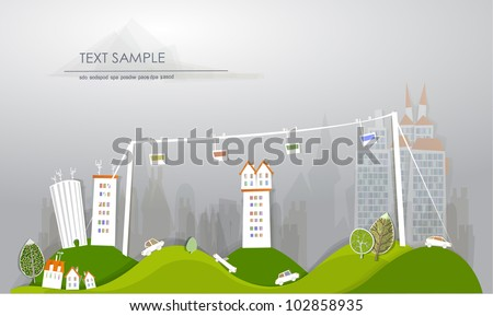 city and cable car