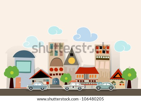 City and car made of paper art , Vector illustrator