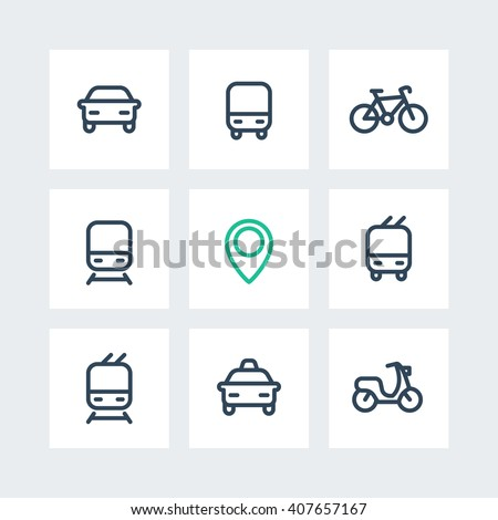 City and public transport icons on squares, public transportation vector icons, route, bus, subway, taxi, public transport pictograms, thick line icons isolated on white, vector illustration
