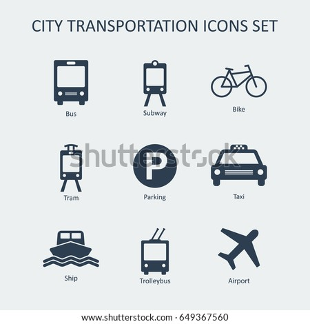 City and public transportation icons set. Silhouette vector signs