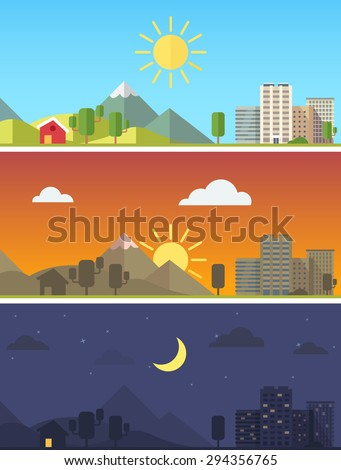 City and rural scenic landscape in different times of day. Flat style vector vector.