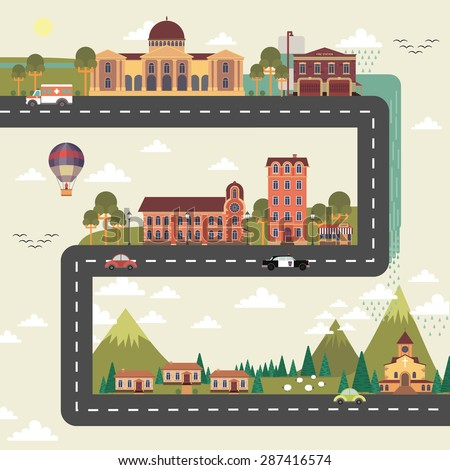 City and suburb long street poster with town council edifice and hospital building flat abstract vector illustration