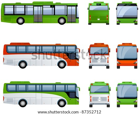 City and tourist buses  in vector  (Set #31)