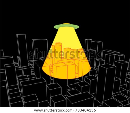 city and ufo abstract skyline