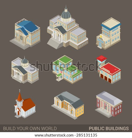 City architecture public government buildings flat 3d web for Website to build your own house