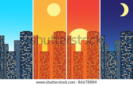city at different times