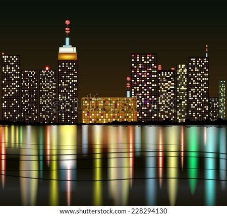 city at night with reflection