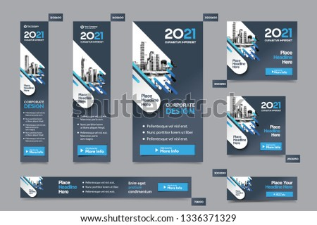 City Background Corporate Web Banner Template in multiple sizes. Easy to adapt to Brochure, Annual Report, Magazine, Poster, Corporate Advertising media, Flyer, Website. #1336371329