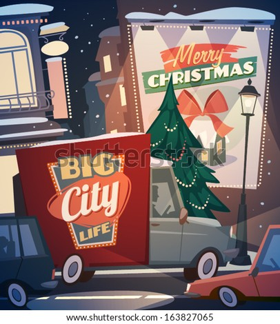 City background Merry Christmas illustration