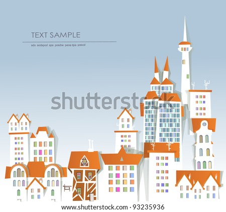 "city background ""White city"" collection - stock vector"