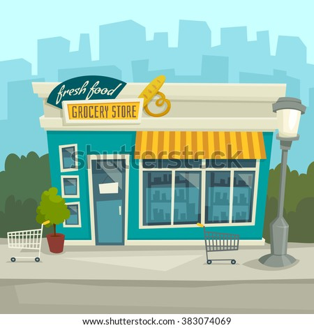 City Background With Shop Building Vector Cartoon