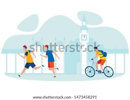 City Bicycle Tour Cartoon Vector Illustration. Man Riding Bike, Sportsmen Jogging Flat Characters. London Urban Life, Great Britain Sightseeing Trip. Big Ben England Landmark, Tourist Attraction