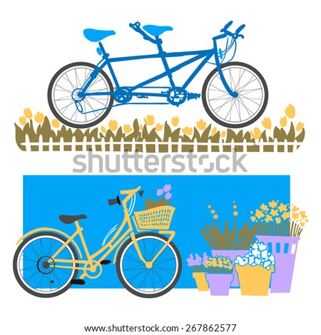 city bikes vector drawing of a