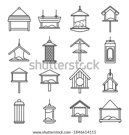 City bird feeders icons set. Outline set of city bird feeders vector icons for web design isolated on white background ストックフォト ©