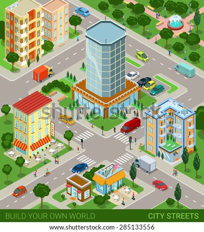 City block streets transport inhabitants concept. Modern trendy flat 3d isometric info graphic. Street buildings cars vans ice cream cafe restaurant business center park. Creative people collection.