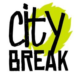 City break sticker. Authentic design graphic stamp. Original series