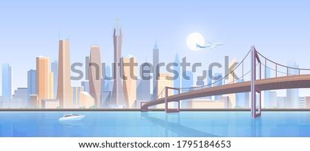city bridge landscape vector