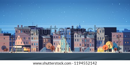 city building houses night view