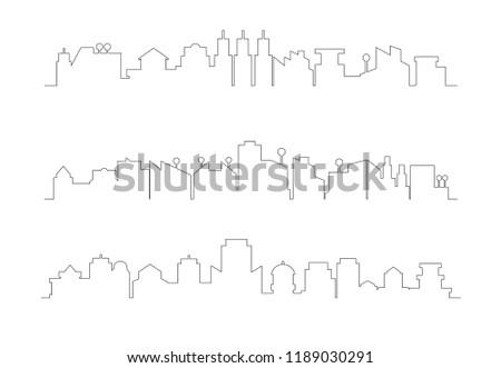 city building skyline thin line illustration