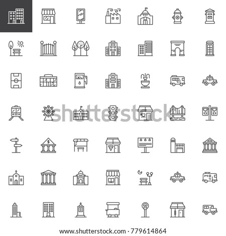 City buildings and transportation line icons set, outline vector symbol collection, linear style pictogram pack. Signs, logo illustration. Set includes icons as hospital building, hotel, factory, park