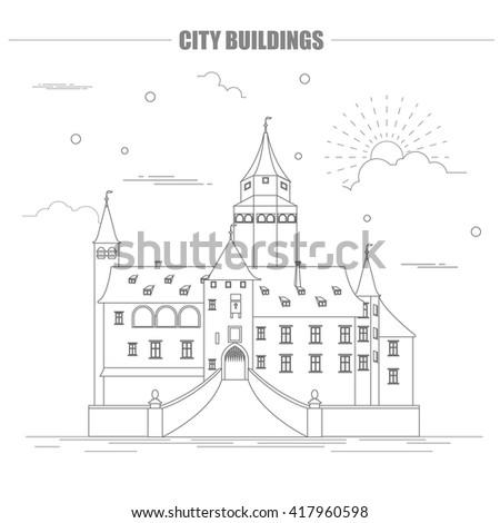 City Buildings Graphic Template Bousov Castle Vector Illustration