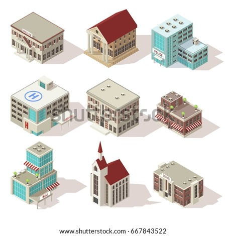 City buildings isometric icons set with hospital church and school police and theater mall isolated vector illustration