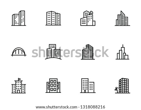 City buildings line icon set. Office, apartment, flat. Real estate concept. Can be used for topics like property, business center, downtown
