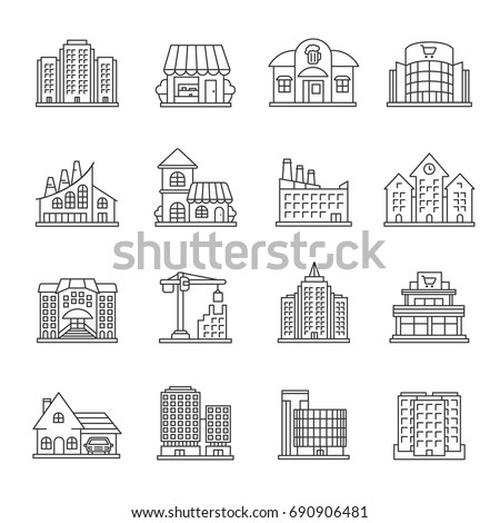 City buildings linear icons set. Facades. Town architecture. Thin line contour symbols. Isolated vector outline illustrations. Editable stroke