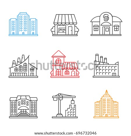 City buildings linear icons set. Multi-storey building, shop, pub, industrial factory, cafe, hotel, university, tower crane, skyscraper. Thin line contour symbols. Isolated vector outline illustration