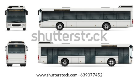 City bus vector template for car branding and advertising. Isolated passenger bus on white. All layers and groups well organized for easy editing and recolor. View from left, right side, front, back.