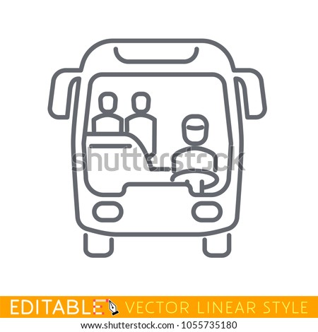 City bus with passengers. Editable outline sketch icon. Stock vector illustration.