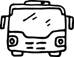 City bus with passengers. Sketch icon. Stock vector illustration.
