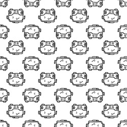 City bus with passengers. Sketch icon. Stock vector illustration. Seamless pattern.