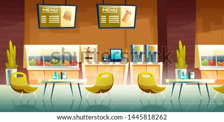 City cafeteria, fast food cafe, mall food court restaurant cartoon vector empty interior with counter desk, fruits, sweets and bakery under showcases, tables with chairs, menu signboards illustration