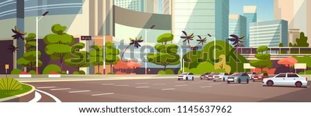 City car parking over skyscraper buildings modern cityscape background horizontal banner flat vector illustration