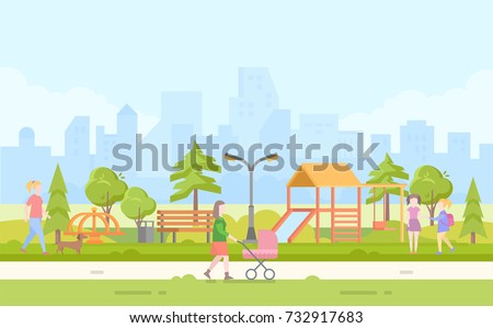 City children playground - modern cartoon vector illustration with skyscrapers on the background. Recreation with slide, bench, merry-go-round, swing, lantern. Mother walking with baby carriage