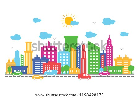 City Cityscape Skyline Landscape Building Street Design Illustration