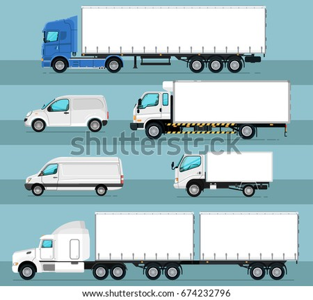 City commercial transport isolated set. Delivery car, cargo van, freight container truck, lorry vector illustration. Trucking business object collection. Side view auto vehicle in flat design.