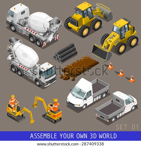 City construction transport icon set. Flat 3d isometric. Excavator crane grader concrete cement mixer scraper truck loader tow wrecker truck. Assemble your own 3D world web infographic collection.