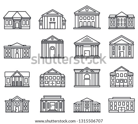City courthouse icons set. Outline set of city courthouse vector icons for web design isolated on white background