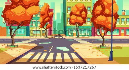 city crossroad in autumn time