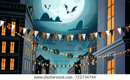 city decorated for halloween